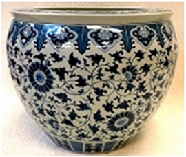"""Blue and White Classic Chinese Porcelain FishBowl Planter 20"""""""