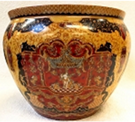 "Chinese Porcelain FishBowl Planter 20"" - Golden Yellow with Black and Red"