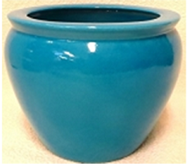 "Chinese Porcelain FishBowl Planter 20"" - Turquoise"