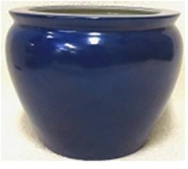 "Chinese Porcelain FishBowl Planter 20"" - Cobalt Blue"