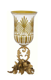 Luxe Life Finely Finished Cut Crystal Glass and Gilt Bronze Ormolu, 14 Inch Hurricane Candle Holder