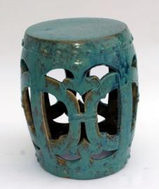 Finely Finished Ceramic Garden Stool - 18 Inch - Antiqued Turqoise Finish