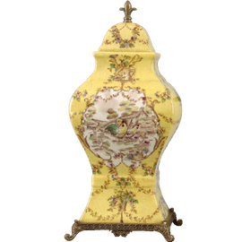French Countryside Pattern - Luxury Hand Painted Porcelain and Parcel Gilt Bronze Ormolu - 14 Inch Covered Urn