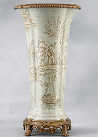 Celadon Toile Pattern - Luxury Hand Painted Porcelain and Gilt Bronze Ormolu - 21 Inch Tapered Vase