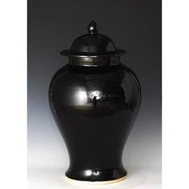 Finely Finished Porcelain Temple Jar - 21 Inch - Polished Black Finish
