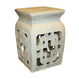 Finely Finished Ceramic Garden Stool - 21t Inch Square - Antiqued Ivory Finish