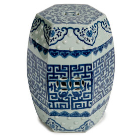 Finely Finished Ceramic Garden Stool - 19 Inch Hexagonal - Classic Blue and White Design
