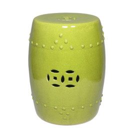 Finely Finished Ceramic Garden Stool - 18 Inch - Polished Lime Finish