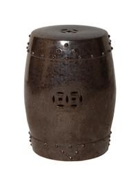 Finely Finished Ceramic Garden Stool - 18 Inch - Polished Gunmetal Grey Finish