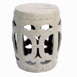 Finely Finished Ceramic Garden Stool - 18 Inch - Antiqued Ivory Finish