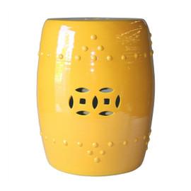 Finely Finished Ceramic Garden Stool - 17 Inch - Polished Yellow Finish