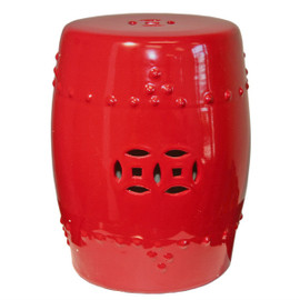 Finely Finished Ceramic Garden Stool - 17 Inch - Polished Lucky Red Finish