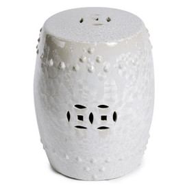 Finely Finished Ceramic Garden Stool - 17 Inch - Iridescent White Finish