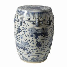 Finely Finished Ceramic Garden Stool - 17 Inch - Classic Blue and White Foo Dog Design
