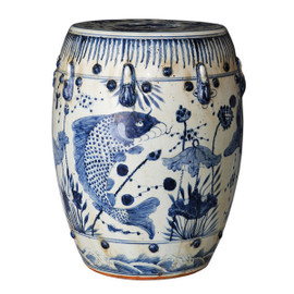 Finely Finished Ceramic Garden Stool - 17 Inch - Classic Blue and White Fish Design