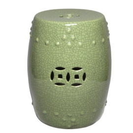 Finely Finished Ceramic Garden Stool - 16 Inch - Crackle Green Finish