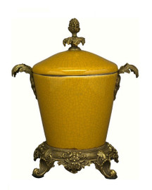 Luxe Life Glossy Yellow Crackle Finely Finished Porcelain and Gilt Bronze Ormolu - 9 Inch Covered Jar, Urn