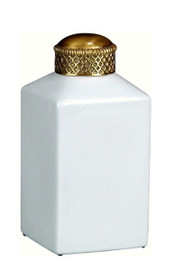 Luxe Life Glossy White Crackle Finely Finished Porcelain and Parcel Gilt Bronze Ormolu - Square 8 Inch Decorative Jar