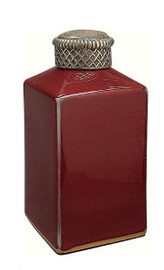 Luxe Life Glossy Red Finely Finished Porcelain and Parcel Gilt Bronze Ormolu - Square 8 Inch Decorative Jar