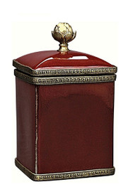 Luxe Life Glossy Red Finely Finished Porcelain and Gilt Bronze Ormolu - 6 Inch Decorative Box