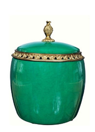 Luxe Life Glossy Jewel Green Finely Finished Porcelain and Gilt Bronze Ormolu - Round Container 8.5t X 7d Covered Box