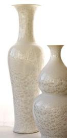 Finely Finished Porcelain - 55 Inch Palace Vase - Glazed Iridescent White Finish
