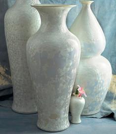 Finely Finished Porcelain - 41 Inch Palace Vase - Glazed Iridescent White Finish