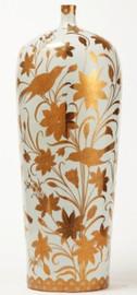 Finely Finished Porcelain - 30 Inch Oversized Vase - Metallic Gold Nature Scene