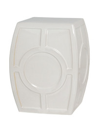 Finely Finished Ceramic Circle Contemporary Garden Stool - 18 Inch - Polished Snow White Finish