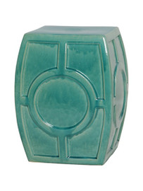 Finely Finished Ceramic Circle Contemporary Garden Stool - 18 Inch - Polished Blue Green Finish