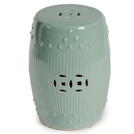 Finely Finished Ceramic Broken Rib Garden Stool - 20 Inch - Polished Celadon Finish