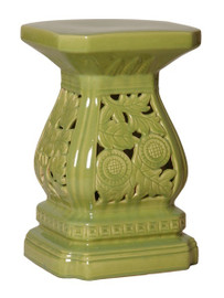 Cascader Feuillage - 19 Inch Finely Finished Ceramic Garden Stool, Table Base - Polished Green Finish