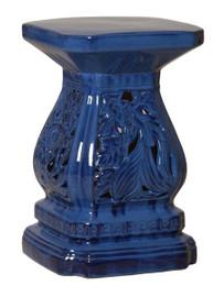 Cascader Feuillage - 19 Inch Finely Finished Ceramic Garden Stool, Table Base - Polished Blue Finish