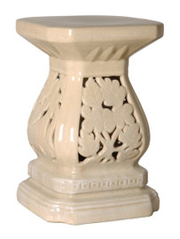 Cascader Feuillage - 19 Inch Finely Finished Ceramic Garden Stool, Table Base - Crackle Ivory Finish