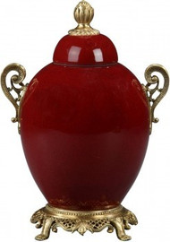 Luxe Life Glossy Red Finely Finished Porcelain and Gilt Bronze Ormolu - 10 Inch Covered Jar