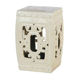 Finely Finished Ceramic Garden Stool - 20t Inch Square - Antiqued White Finish