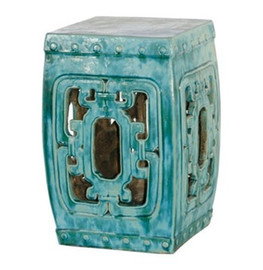 Finely Finished Ceramic Garden Stool - 20 Inch Square - Antiqued Turquoise Finish