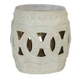 Finely Finished Ceramic Garden Stool - 20 Inch - Antiqued Ivory Finish
