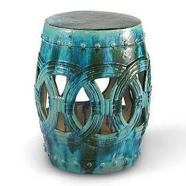 Finely Finished Ceramic Garden Stool - 20 Inch - Antiqued Turquoise Finish