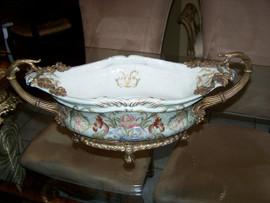 An Iris Garden Pattern, Luxury Hand Painted Chinese Porcelain and Gilt Brass Ormolu, 18 Inch Basin