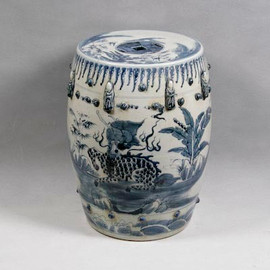 Finely Finished Ceramic Garden Stool - 17 Inch - Classic Blue and White Design