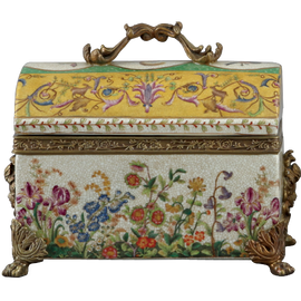 Spring Gardens Pattern - Luxury Hand Painted Porcelain and Gilt Bronze Ormolu - 8 Inch Covered Box