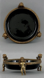 Solid Black Bedside Cherub Coaster - Luxury Hand Painted Porcelain and Parcel Gilt Bronze Ormolu - Set of Two