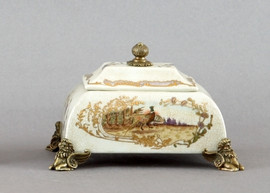 Pheasant on Display Pattern - Luxury Hand Painted Porcelain and Gilt Bronze Ormolu - 9 Inch Square Decorative Box