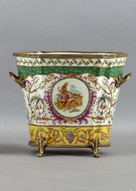Heavenly Putti Pattern - Luxury Hand Painted Porcelain and Gilt Bronze Ormolu - 9 Inch Oval Planter