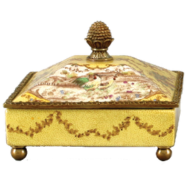 French Countryside Pattern - Luxury Hand Painted Porcelain and Gilt Bronze Ormolu - 8 Inch Square Decorative Box