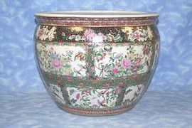 Gold Birds and Flowers - Luxury Hand Painted Porcelain - 14 Inch Fish Bowl, Planter