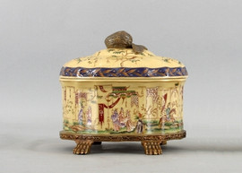 Dynasty Pattern - Luxury Hand Painted Porcelain and Gilt Bronze Ormolu - 8 Inch Round Covered Decorative Box