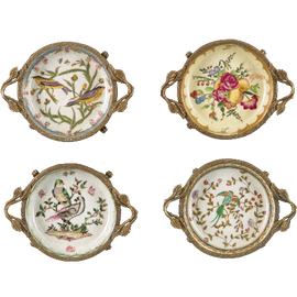 Coasters, Group VI - Luxury Hand Painted Porcelain and Gilt Bronze Ormolu - Set of Four