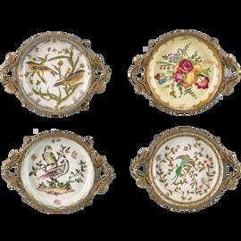 Coasters, Group VI - Luxury Hand Painted Porcelain and Parcel Gilt Bronze Ormolu - Set of Four